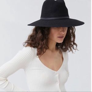 Urban Outfitters Nubby Panama Hat Black NEW One Size